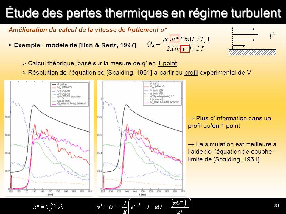 Étude des pertes thermiques en régime turbulent 31 Amélioration du calcul de la vitesse de frottement u* Exemple : modèle de [Han & Reitz, 1997] Calcu