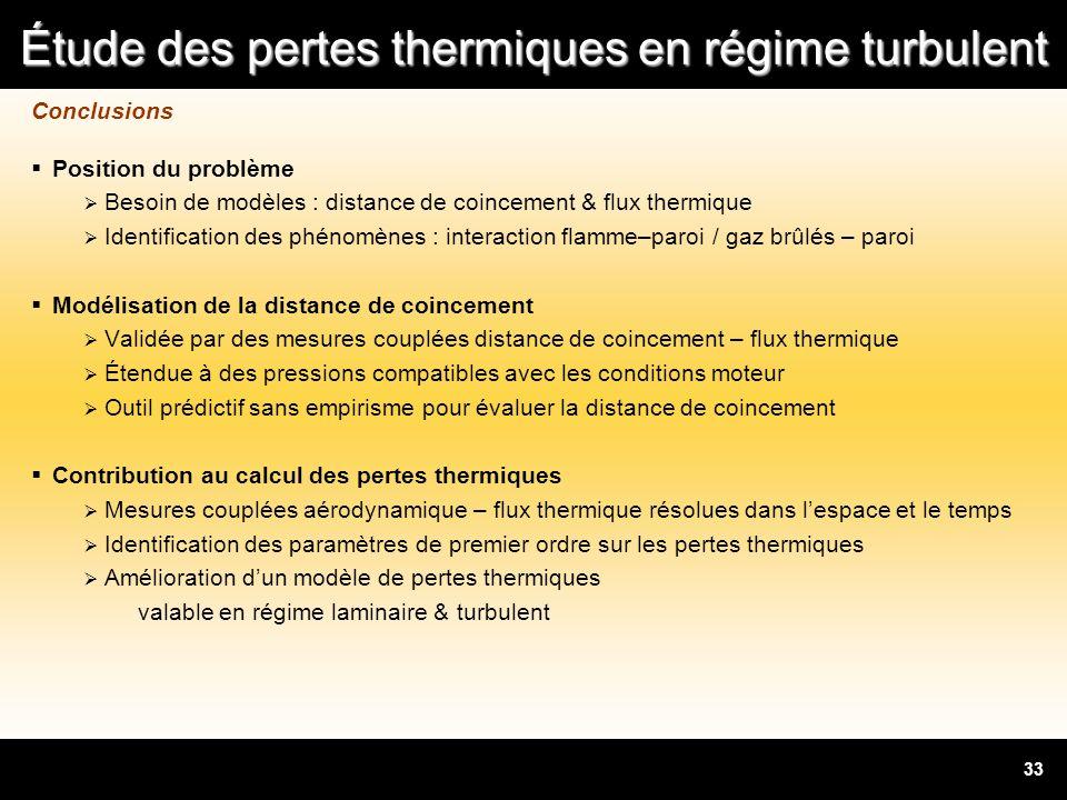Étude des pertes thermiques en régime turbulent 33 Conclusions Position du problème Besoin de modèles : distance de coincement & flux thermique Identi