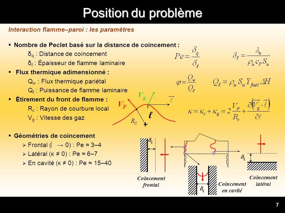 Position du problème 8 Fergusson & Keck, 1977 : Hypothèse : problème de conduction stationnaire λ : conductivité des gaz frais lors du coincement ΔT : gradient thermique à travers les gaz frais Non valable pour P>1atm [Sotton et al., 2005] Modèle adiabatique : Hypothèse : idem + flamme adiabatique [Westbrook et al., 1981] : Corrélation issue de la simulation numérique 1D Pe b : nombre de Peclet des gaz brûlés Valable pour P=1–40atm Pas de modèle satisfaisant : limitations fortes, empirisme Interaction flamme–paroi : les modèles de distance de coincement