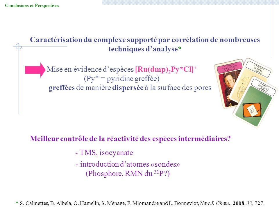 Conclusions et Perspectives Mise en évidence despèces [Ru(dmp) 2 Py*Cl] + (Py* = pyridine greffée) greffées de manière dispersée à la surface des pore