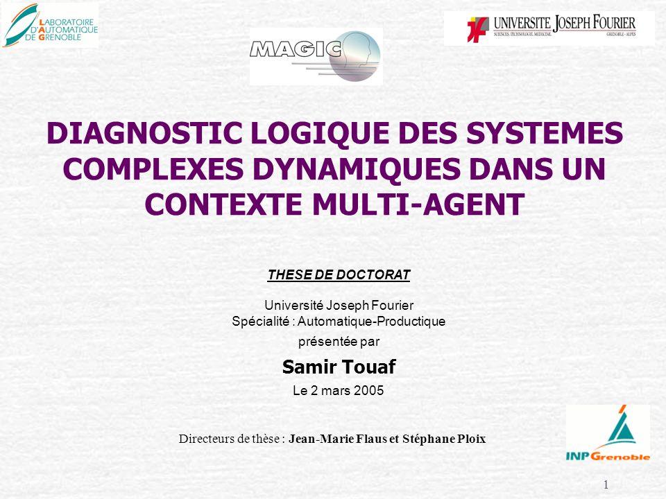 1 DIAGNOSTIC LOGIQUE DES SYSTEMES COMPLEXES DYNAMIQUES DANS UN CONTEXTE MULTI-AGENT Directeurs de thèse : Jean-Marie Flaus et Stéphane Ploix THESE DE