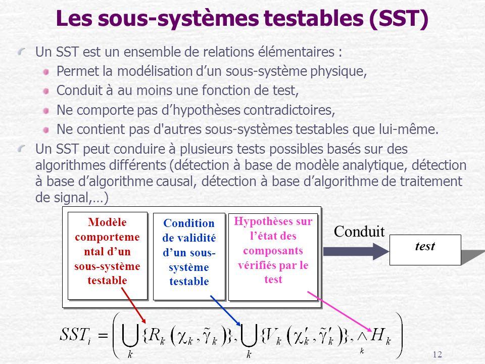 12 Un SST est un ensemble de relations élémentaires : Permet la modélisation dun sous-système physique, Conduit à au moins une fonction de test, Ne co