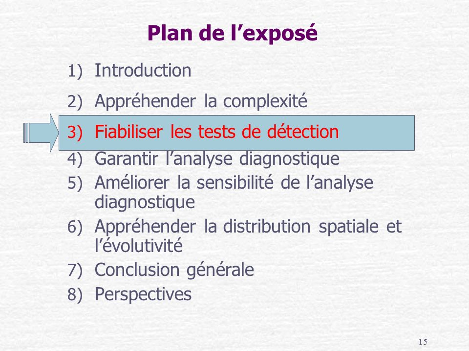 15 Plan de lexposé 1) Introduction 2) Appréhender la complexité 3) Fiabiliser les tests de détection 4) Garantir lanalyse diagnostique 5) Améliorer la