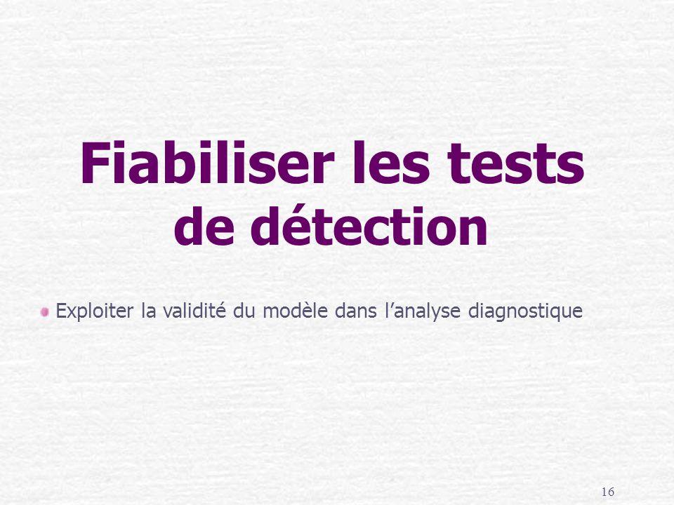 16 Fiabiliser les tests de détection Exploiter la validité du modèle dans lanalyse diagnostique