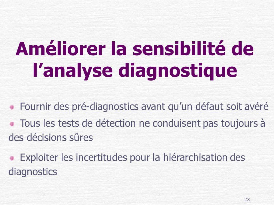 28 Améliorer la sensibilité de lanalyse diagnostique Fournir des pré-diagnostics avant quun défaut soit avéré Tous les tests de détection ne conduisen