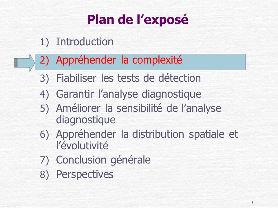 3 1) Introduction 2) Appréhender la complexité 3) Fiabiliser les tests de détection 4) Garantir lanalyse diagnostique 5) Améliorer la sensibilité de l