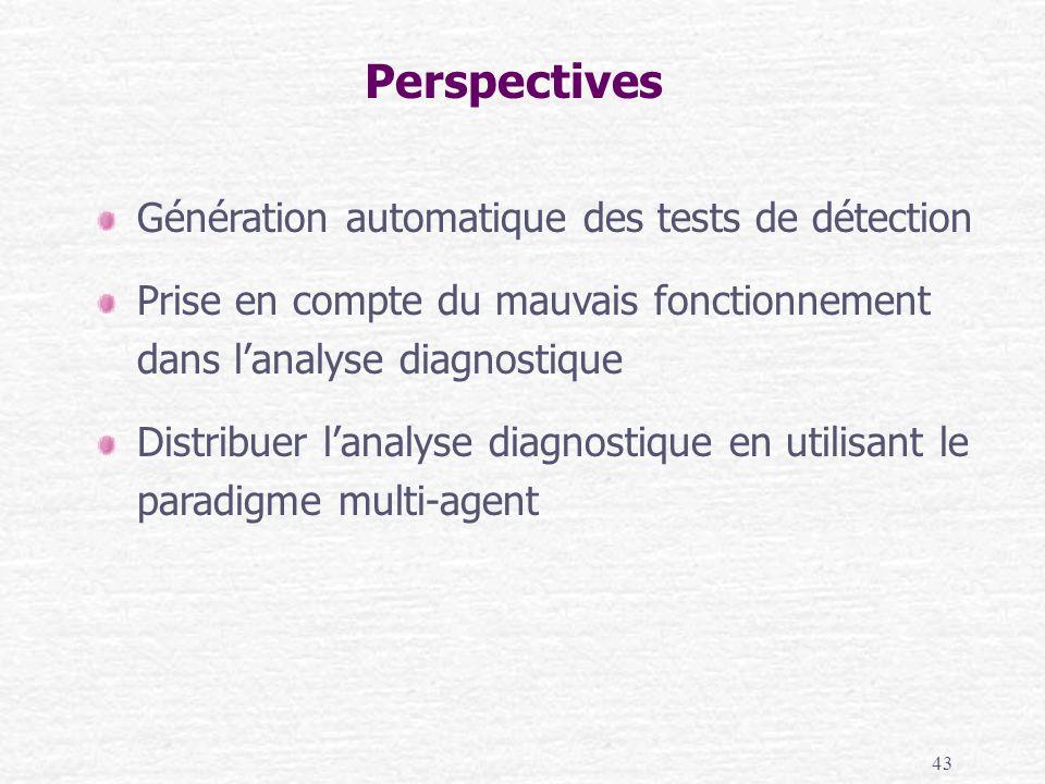 43 Perspectives Génération automatique des tests de détection Prise en compte du mauvais fonctionnement dans lanalyse diagnostique Distribuer lanalyse