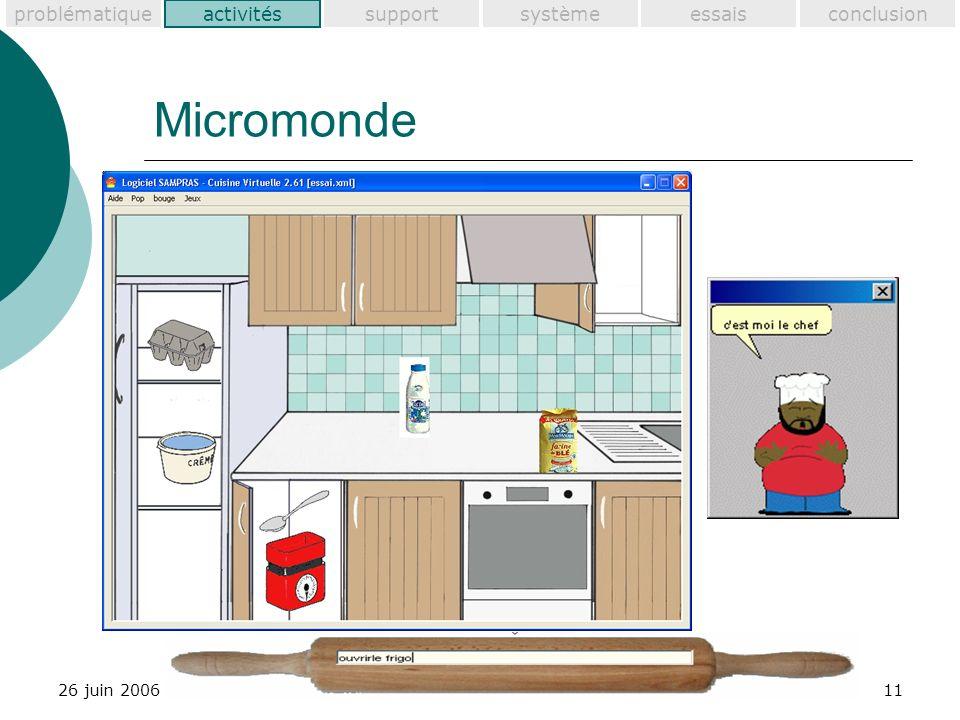 problématiquesupportactivitéssystèmeessaisconclusion 26 juin 200611 Micromonde activités