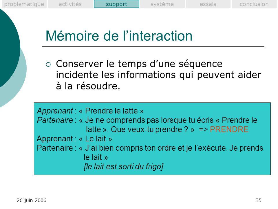problématiquesupportactivitéssystèmeessaisconclusion 26 juin 200635 Mémoire de linteraction Conserver le temps dune séquence incidente les informations qui peuvent aider à la résoudre.