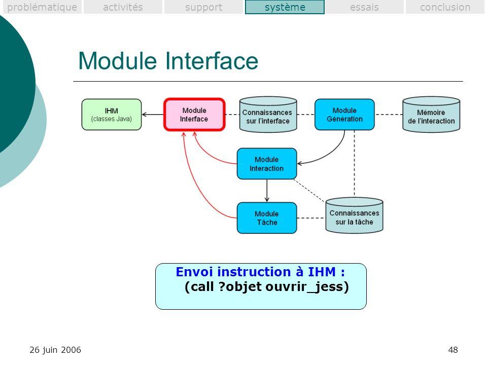 problématiquesupportactivitéssystèmeessaisconclusion 26 juin 200648 Module Interface système Envoi instruction à IHM : (call objet ouvrir_jess)