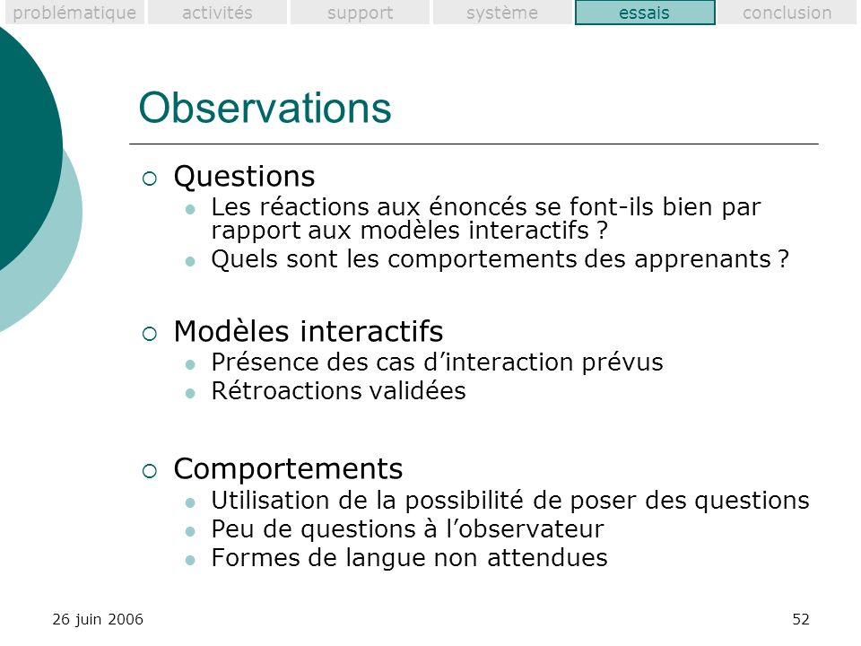 problématiquesupportactivitéssystèmeessaisconclusion 26 juin 200652 Observations Questions Les réactions aux énoncés se font-ils bien par rapport aux modèles interactifs .