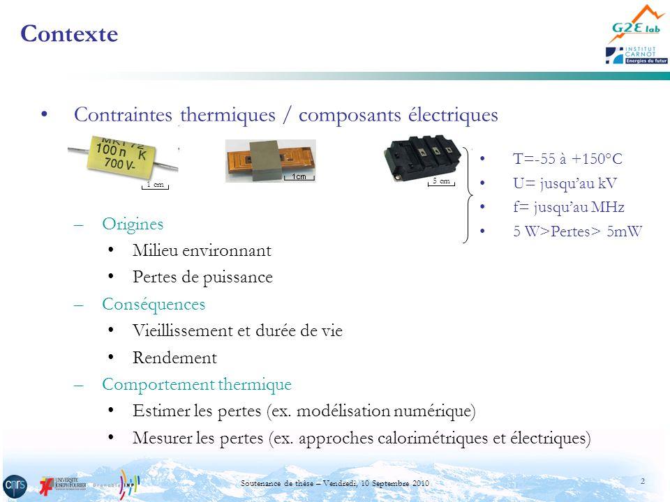 3 Soutenance de thèse – Vendredi, 10 Septembre 2010 Méthodes de mesure –Méthodes électriques (méthodes indirectes) Avantages: facilité dutilisation; reproductibilité des mesures; précises à basse fréquence et en continu Limites: gamme de fréquence; déphasage i/v proche de /2; signaux riches en contenu harmonique –Méthodes calorimétriques (méthodes directes) Avantages: précisions; signaux dalimentation quelconques Limite: durée des mesures (de lordre de 1h) Méthodes calorimétriques Méthodes électriques Contexte t u(t) u(t) û f Les méthodes calorimétriques semblent mieux adaptées