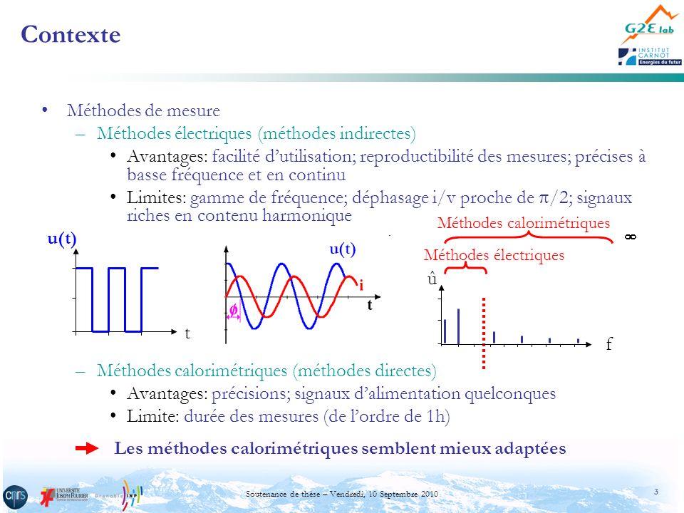 4 Soutenance de thèse – Vendredi, 10 Septembre 2010 Contexte –Dispositifs calorimétriques antérieurs CalorimètresMode déchange Gamme de température Gamme de puissances PrécisionGéométrie composant Adiabatique [Ritchie2004] convection / eau ambiante à 80°C 1 à 50 W ± 10 mW (< 10W) à 30°C quelconque Isopéribolique [Buttay2004] convection / huile ambiante3 à 130 W ± 5 %quelconque flux de chaleur [Chen2002] conductionambiante< 50 W > ± 180 mW 1 face plane Isotherme [Seguin1997] conduction-45 à +85 °C 30 mW à 700 mW 1,5 %cylindrique Isotherme [Objectif] rayonnement-50 à +150°C 5mW à 5W±1mWquelconque
