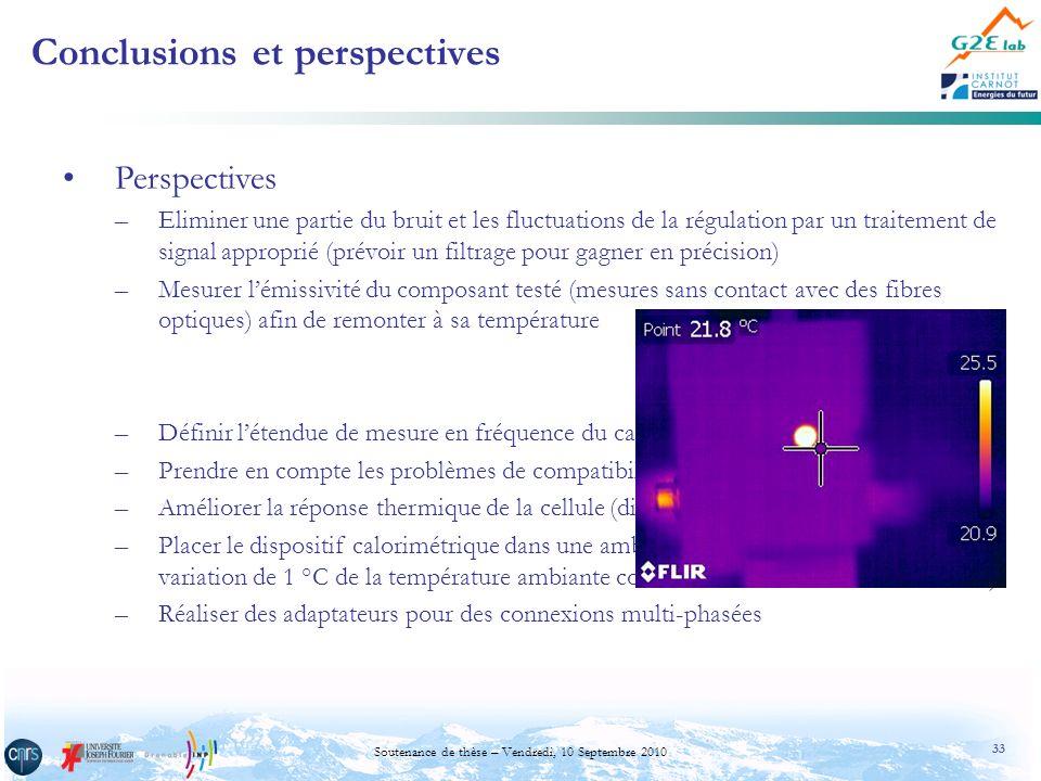 33 Soutenance de thèse – Vendredi, 10 Septembre 2010 Conclusions et perspectives Perspectives –Eliminer une partie du bruit et les fluctuations de la
