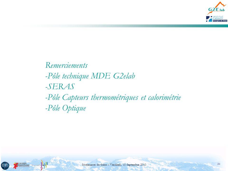 34 Soutenance de thèse – Vendredi, 10 Septembre 2010 Remerciements -Pôle technique MDE G2elab -SERAS -Pôle Capteurs thermométriques et calorimétrie -P