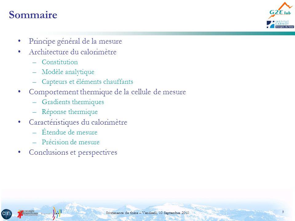 5 Soutenance de thèse – Vendredi, 10 Septembre 2010 Sommaire Principe général de la mesure Architecture du calorimètre –Constitution –Modèle analytiqu