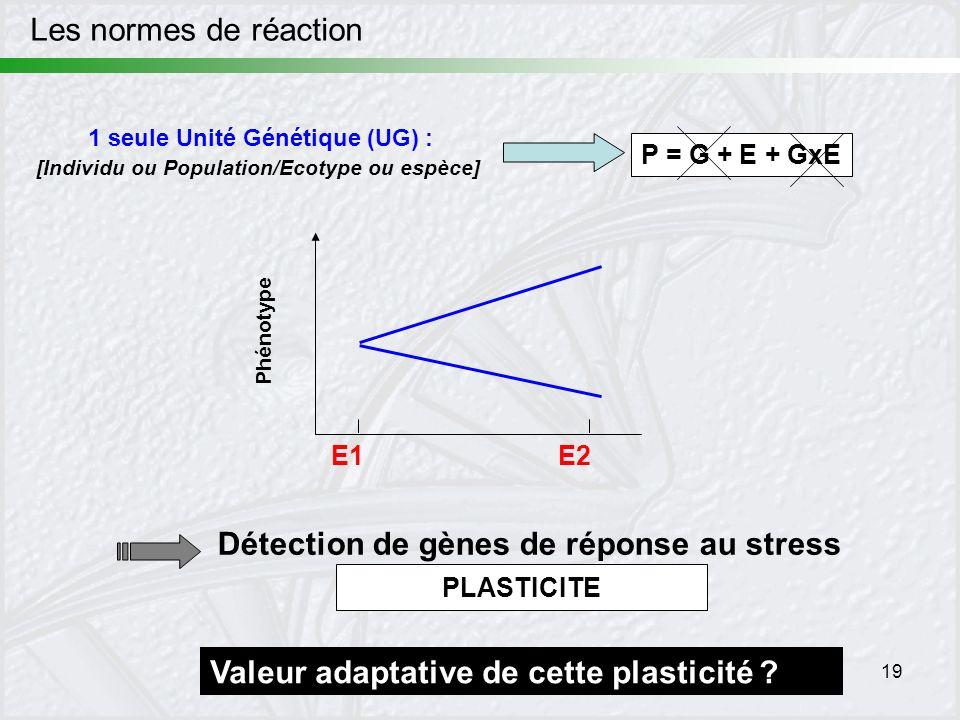 19 Les normes de réaction Phénotype E1E2 1 seule Unité Génétique (UG) : [Individu ou Population/Ecotype ou espèce] P = G + E + GxE Détection de gènes