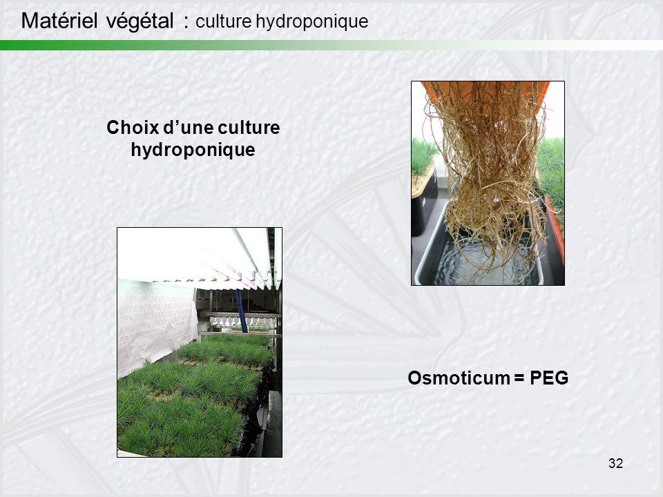 32 Choix dune culture hydroponique Matériel végétal : culture hydroponique Osmoticum = PEG