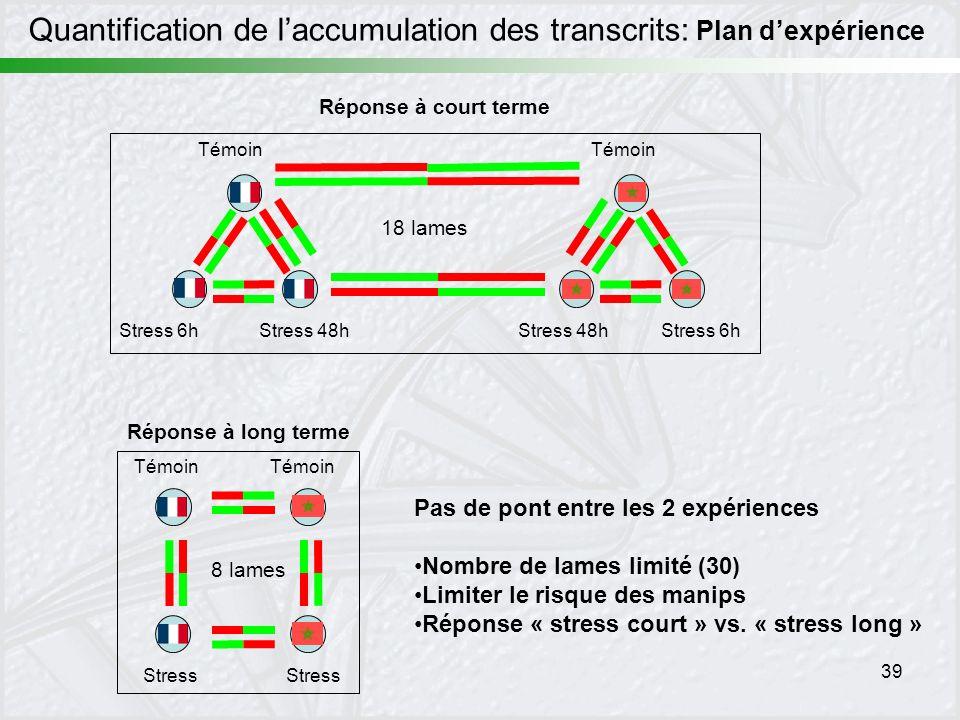 39 Pas de pont entre les 2 expériences Nombre de lames limité (30) Limiter le risque des manips Réponse « stress court » vs. « stress long » Témoin St