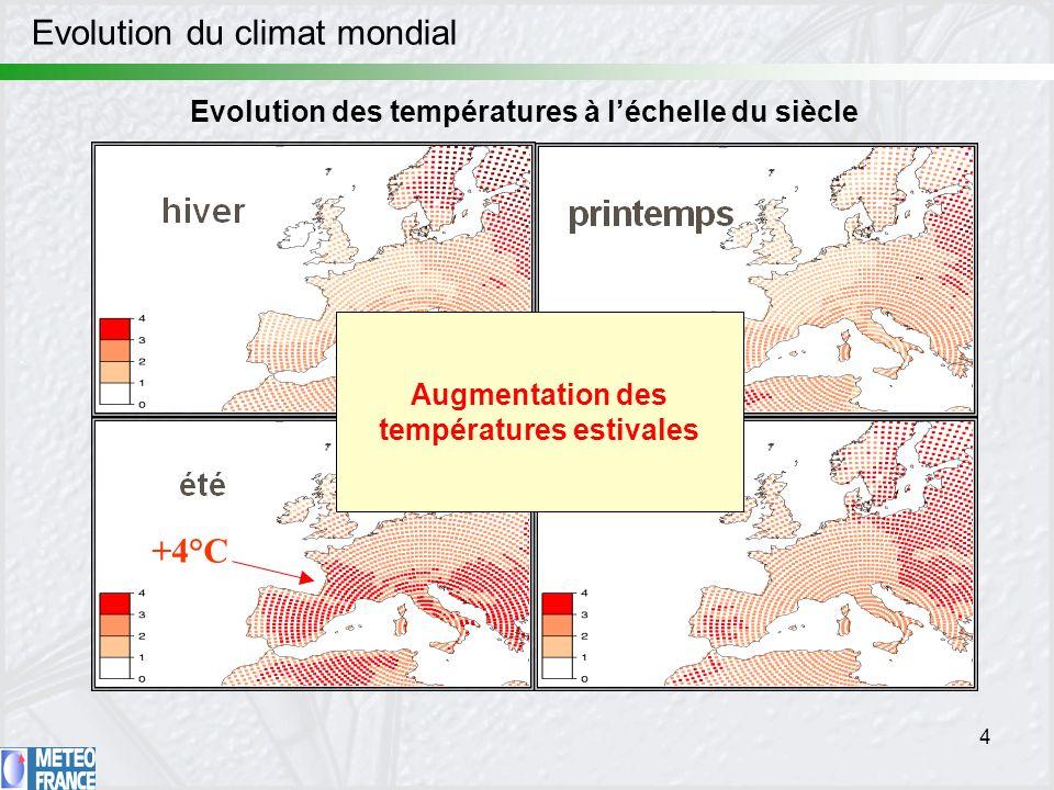 4 Evolution du climat mondial automne +4°C Evolution des températures à léchelle du siècle Augmentation des températures estivales