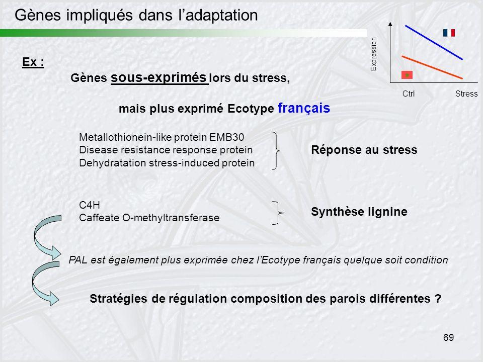 69 Expression CtrlStress Ex : Gènes sous-exprimés lors du stress, mais plus exprimé Ecotype français Metallothionein-like protein EMB30 Disease resist