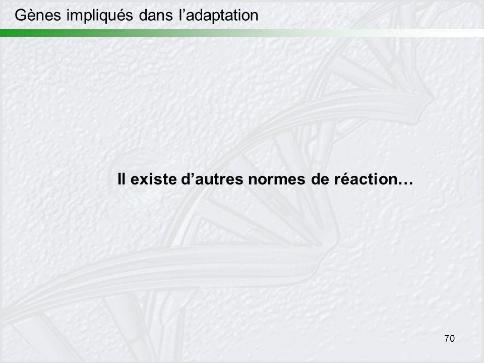 70 Gènes impliqués dans ladaptation Il existe dautres normes de réaction…