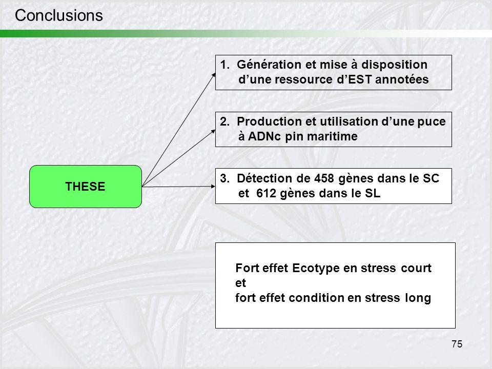 75 Conclusions THESE 1. Génération et mise à disposition dune ressource dEST annotées 2. Production et utilisation dune puce à ADNc pin maritime 3. Dé