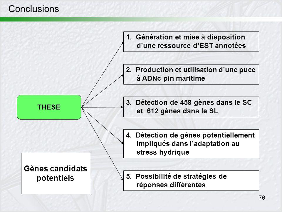76 Conclusions THESE 1. Génération et mise à disposition dune ressource dEST annotées 5. Possibilité de stratégies de réponses différentes 2. Producti