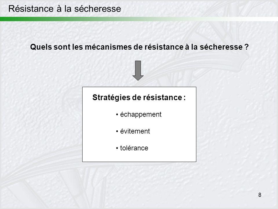 8 Résistance à la sécheresse Quels sont les mécanismes de résistance à la sécheresse ? échappement évitement tolérance Stratégies de résistance :