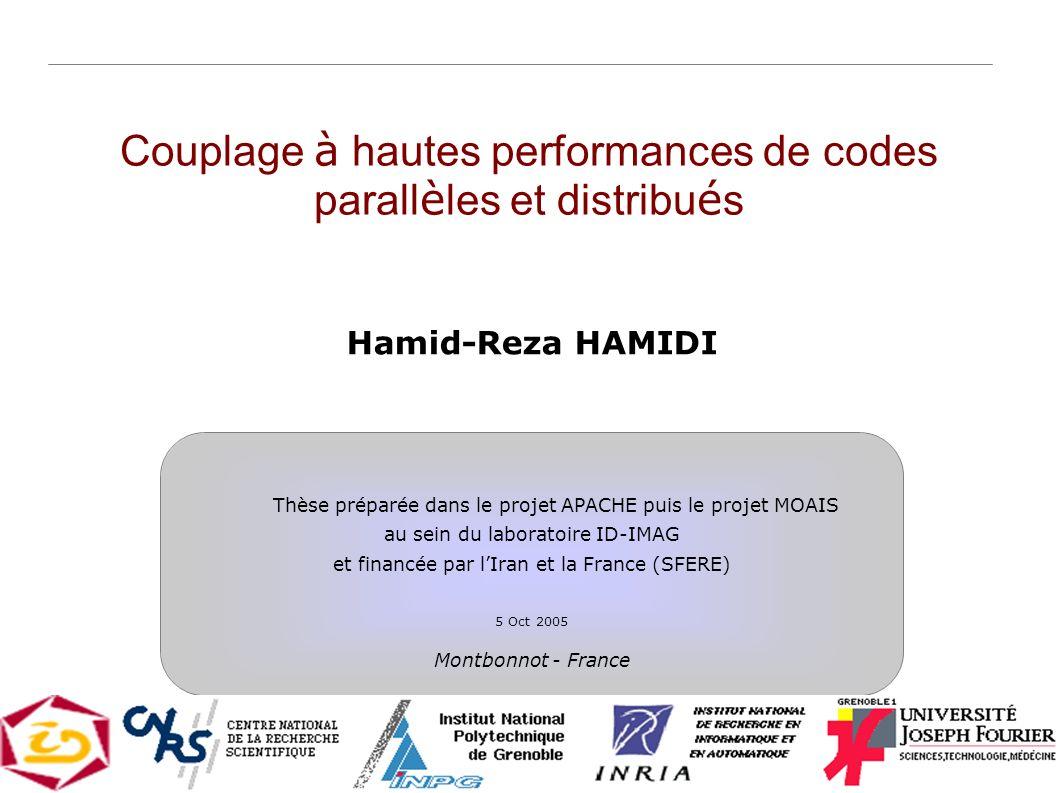 1 Couplage à hautes performances de codes parall è les et distribu é s Hamid-Reza HAMIDI Thèse préparée dans le projet APACHE puis le projet MOAIS au