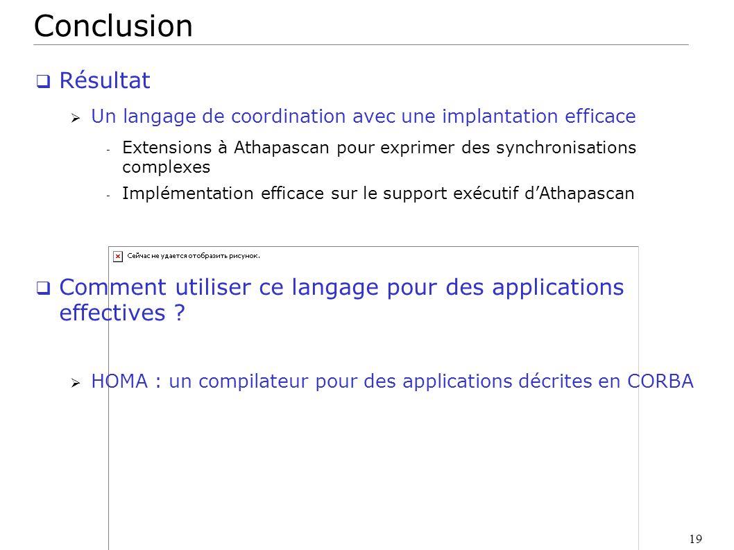 19 Conclusion Résultat Un langage de coordination avec une implantation efficace - Extensions à Athapascan pour exprimer des synchronisations complexe