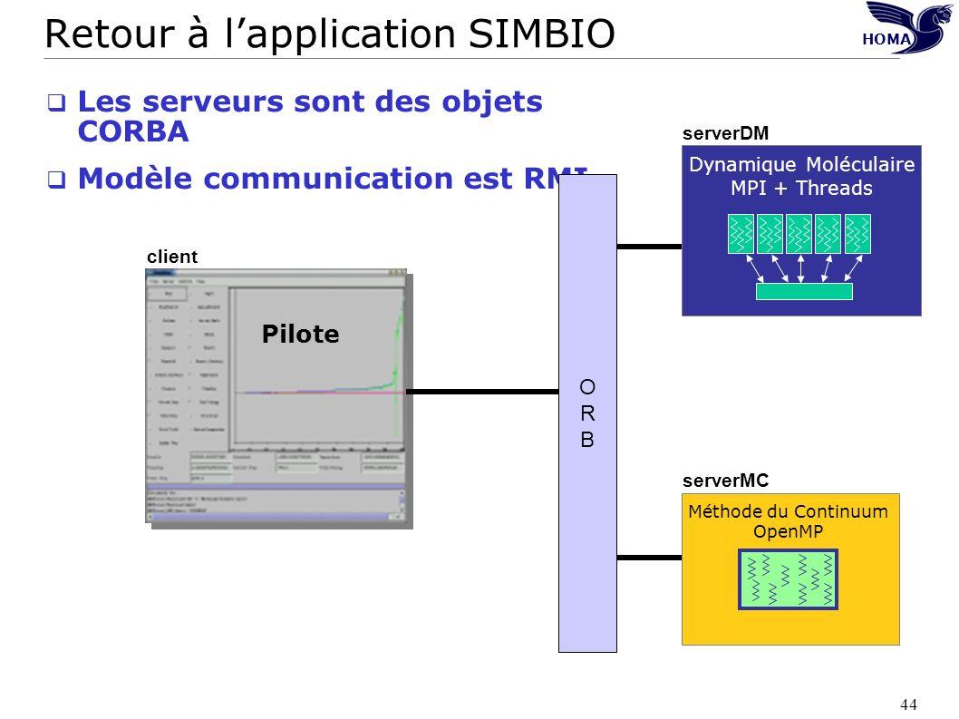 44 Retour à lapplication SIMBIO Les serveurs sont des objets CORBA Modèle communication est RMI Pilote Dynamique Moléculaire MPI + Threads Méthode du