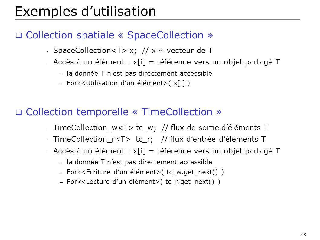 45 Exemples dutilisation Collection spatiale « SpaceCollection » - SpaceCollection x; // x ~ vecteur de T - Accès à un élément : x[i] = référence vers