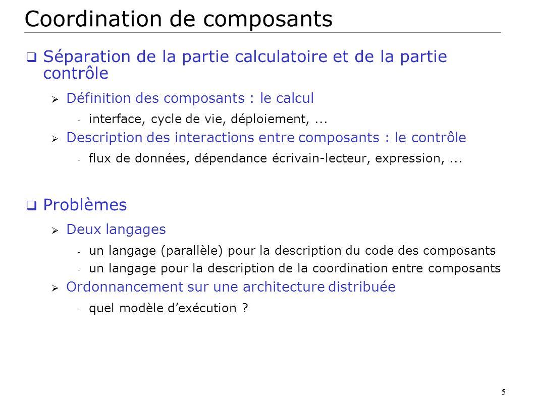 6 Thèse : coordination pour le couplage de codes Quel langage de coordination permettant à la fois : exécution parallèle - passage à léchelle adaptation aux ressources - ordonnancement Il existe des langages parallèles pour ces deux points Linda, Stampede, FlowVR, Athapascan Contribution « Athapascan » comme langage de coordination - deux extensions HOMA : compilateur CORBA + support exécutif - application au couplage de codes dans une grille RPC (CORBA)