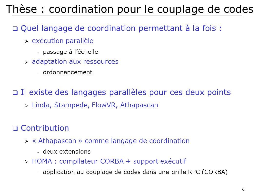 6 Thèse : coordination pour le couplage de codes Quel langage de coordination permettant à la fois : exécution parallèle - passage à léchelle adaptati