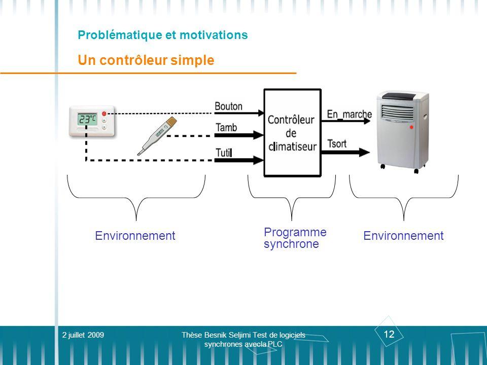 12 Problématique et motivations Un contrôleur simple 2 juillet 2009Thèse Besnik Seljimi Test de logiciels synchrones avecla PLC Programme synchrone En
