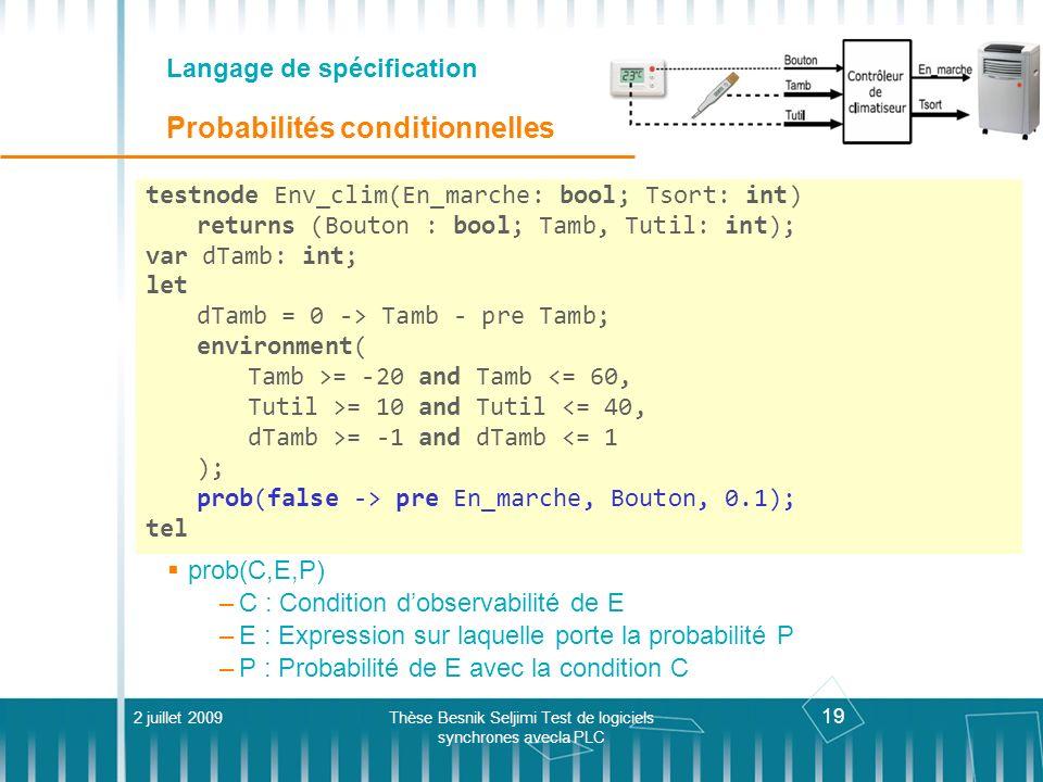 19 Langage de spécification Probabilités conditionnelles 2 juillet 2009Thèse Besnik Seljimi Test de logiciels synchrones avecla PLC testnode Env_clim(