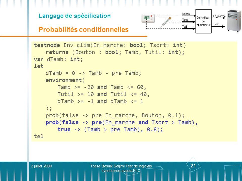 21 Langage de spécification Probabilités conditionnelles 2 juillet 2009Thèse Besnik Seljimi Test de logiciels synchrones avecla PLC testnode Env_clim(