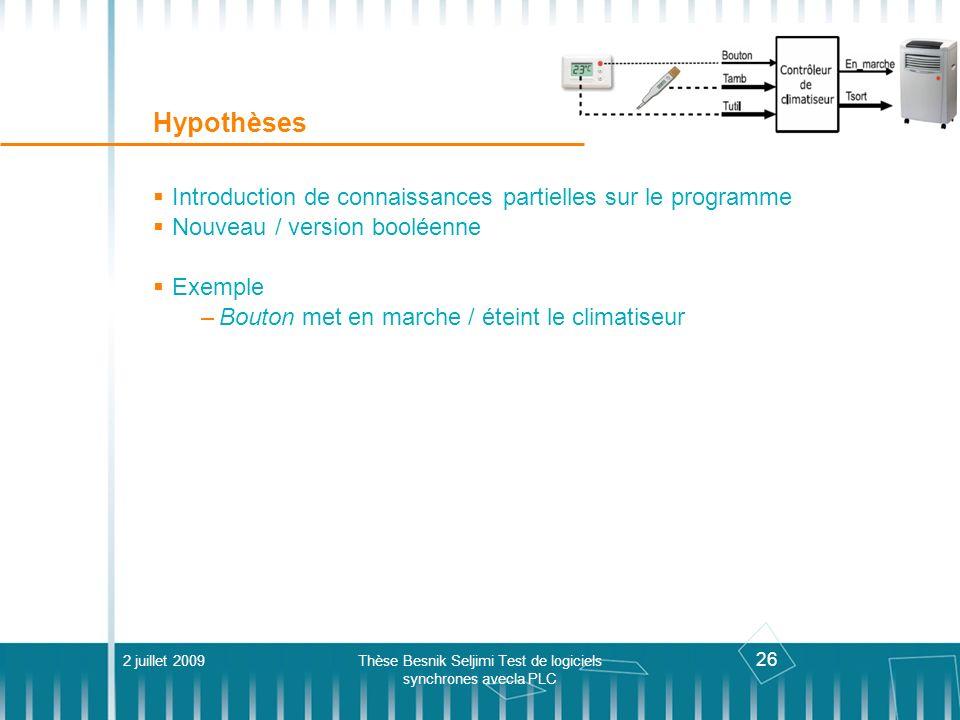 26 Hypothèses Introduction de connaissances partielles sur le programme Nouveau / version booléenne Exemple –Bouton met en marche / éteint le climatis