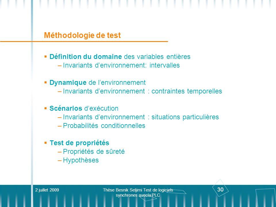 30 Méthodologie de test Définition du domaine des variables entières –Invariants denvironnement: intervalles Dynamique de lenvironnement –Invariants d
