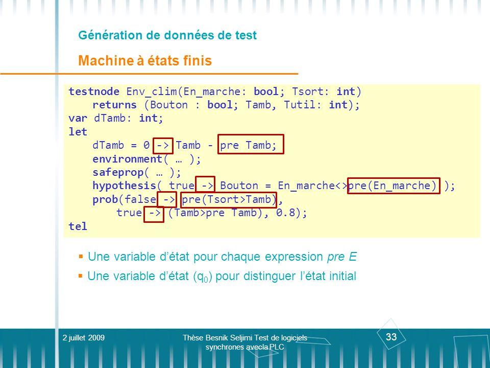 33 Génération de données de test Machine à états finis Une variable détat pour chaque expression pre E 2 juillet 2009Thèse Besnik Seljimi Test de logi