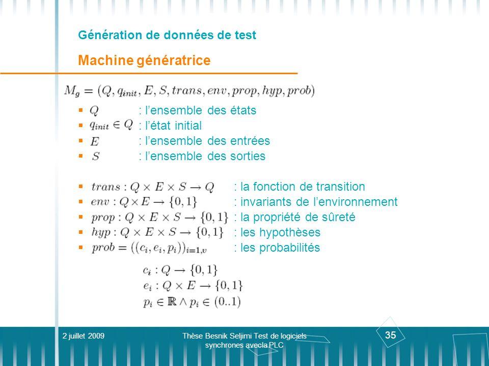 35 Génération de données de test Machine génératrice 2 juillet 2009Thèse Besnik Seljimi Test de logiciels synchrones avecla PLC : lensemble des états