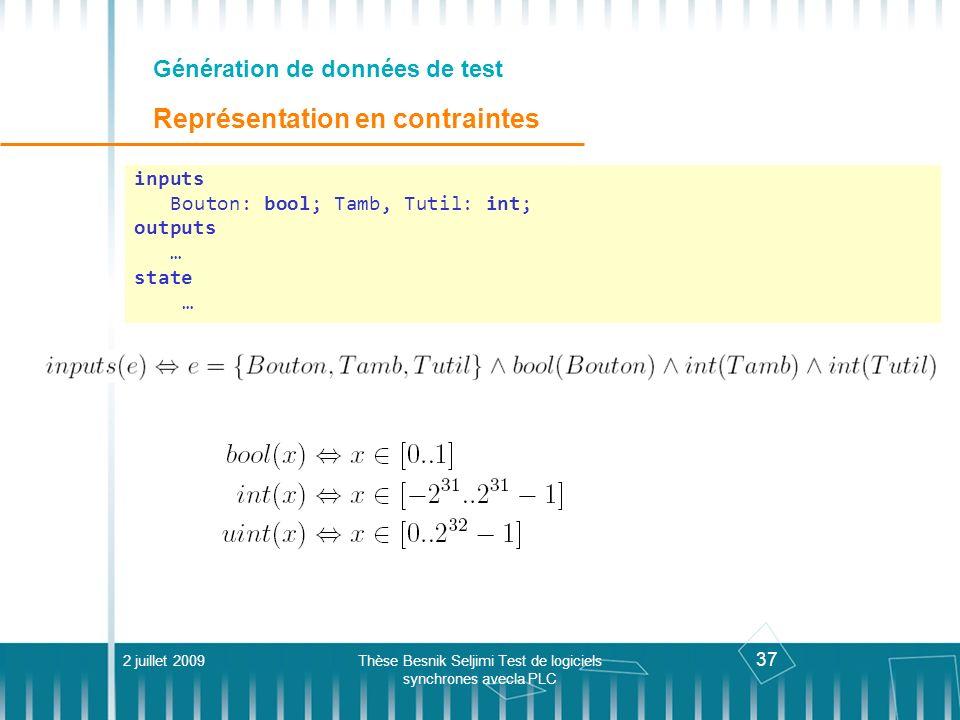 37 Génération de données de test Représentation en contraintes 2 juillet 2009Thèse Besnik Seljimi Test de logiciels synchrones avecla PLC inputs Bouto