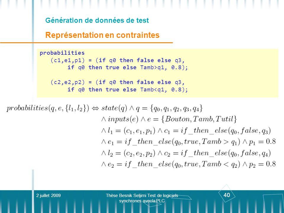 40 Génération de données de test Représentation en contraintes 2 juillet 2009Thèse Besnik Seljimi Test de logiciels synchrones avecla PLC probabilitie
