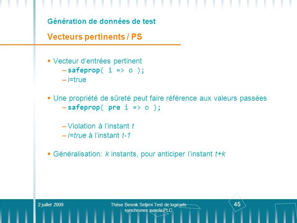 45 Génération de données de test Vecteurs pertinents / PS 2 juillet 2009Thèse Besnik Seljimi Test de logiciels synchrones avecla PLC Vecteur dentrées