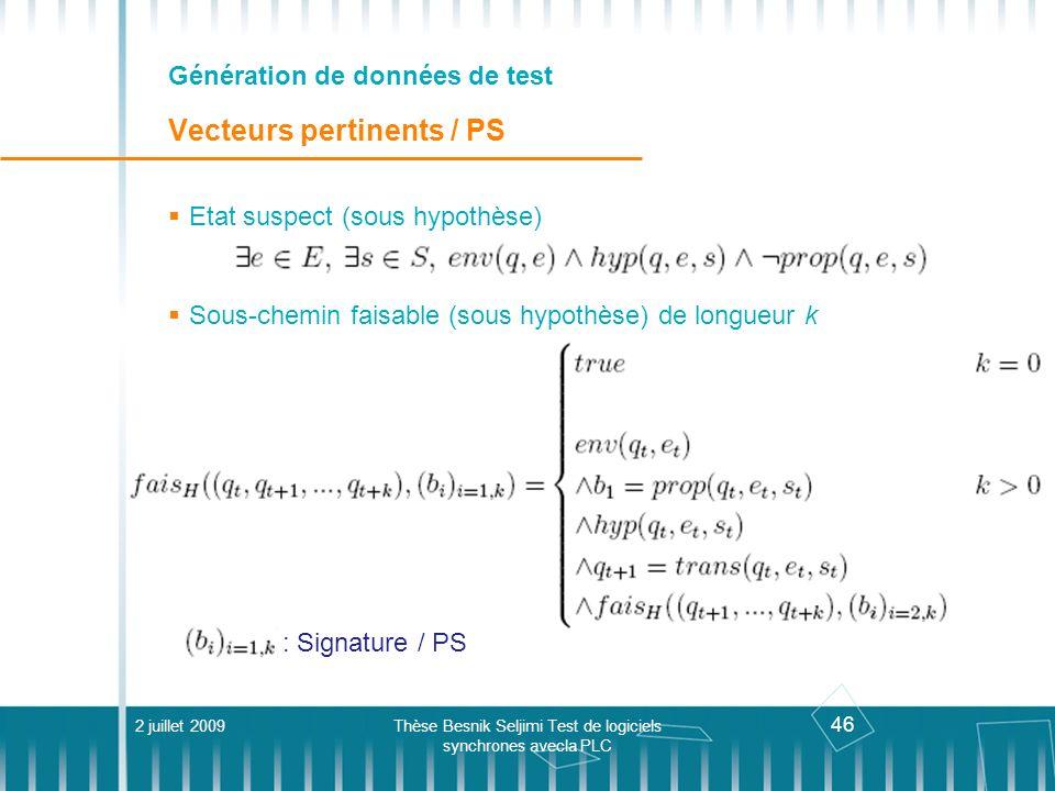 46 Génération de données de test Vecteurs pertinents / PS 2 juillet 2009Thèse Besnik Seljimi Test de logiciels synchrones avecla PLC Etat suspect (sou