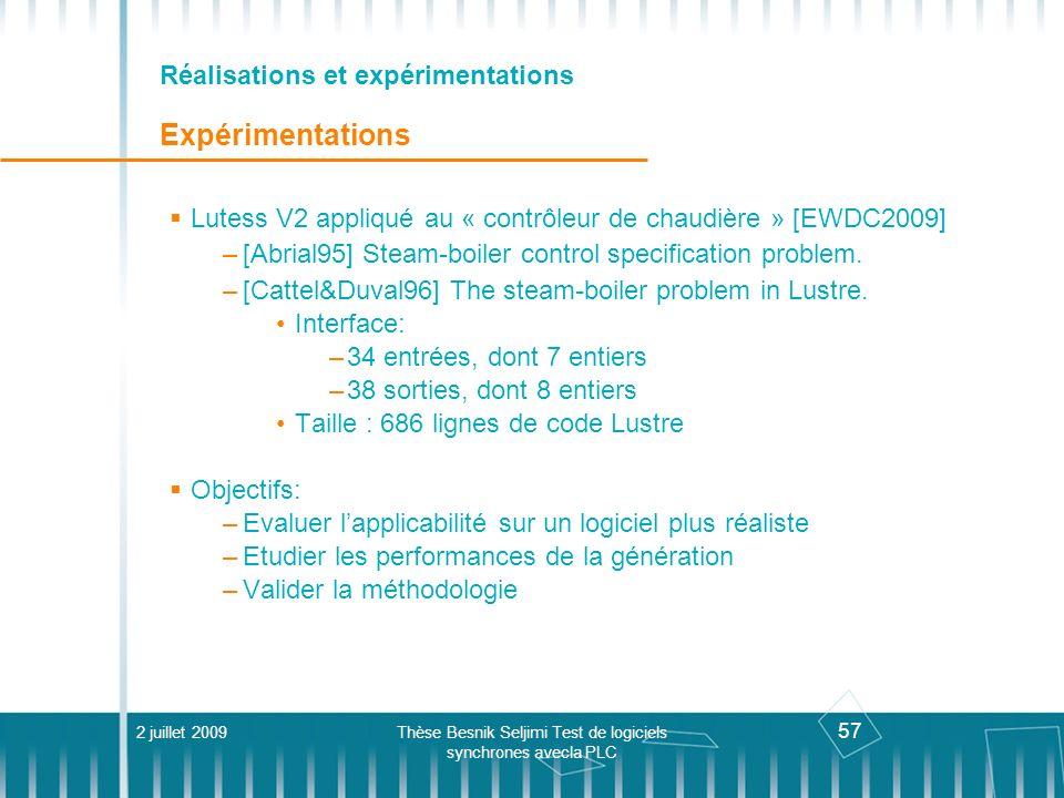 57 Réalisations et expérimentations Expérimentations Lutess V2 appliqué au « contrôleur de chaudière » [EWDC2009] –[Abrial95] Steam-boiler control spe