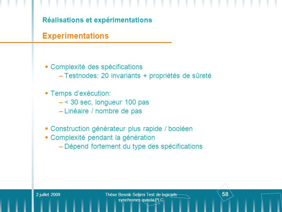 58 Réalisations et expérimentations Experimentations Complexité des spécifications –Testnodes: 20 invariants + propriétés de sûreté Temps dexécution:
