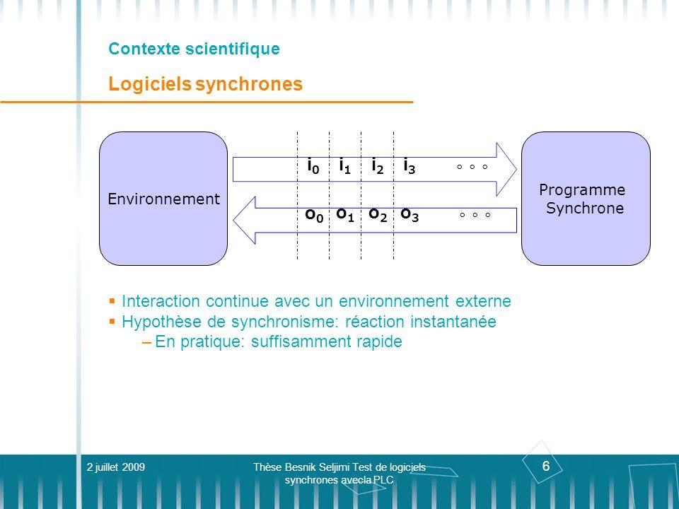 6 Contexte scientifique Logiciels synchrones Interaction continue avec un environnement externe Hypothèse de synchronisme: réaction instantanée –En pr
