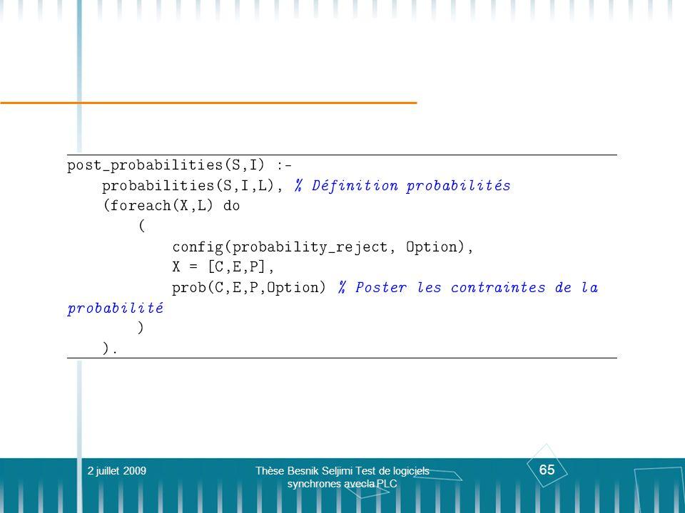 65 2 juillet 2009Thèse Besnik Seljimi Test de logiciels synchrones avecla PLC